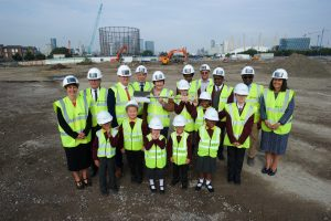 St Mary Magdalene students, staff and contractors join Cllrs Hyland, Thorpe and-Brain for the start of works